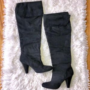 Restricted Black Fold Over Knee High Suede Boot 7